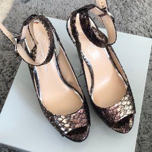 Sexy snake print platform heels